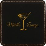 Black Square Leatherette Coaster Employee Awards